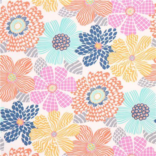 White Fabric Pink Green Orange Flower Grey Leaf By Dear Stella Usa 1