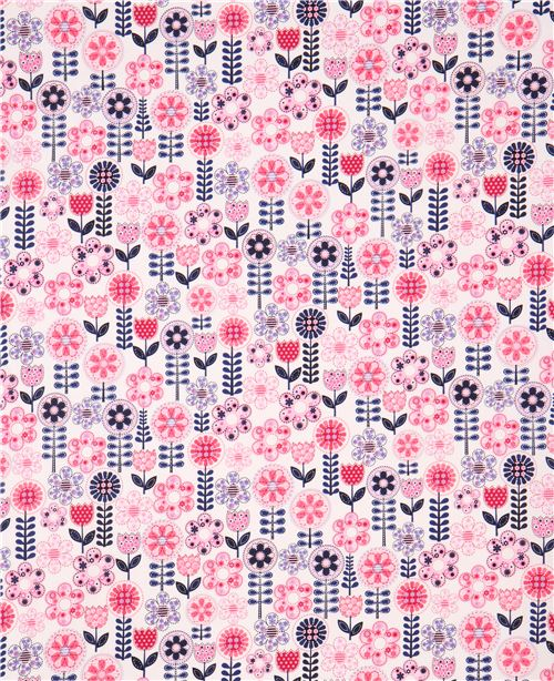 white fabric light pink navy blue flower by Michael Miller Fantasy ...