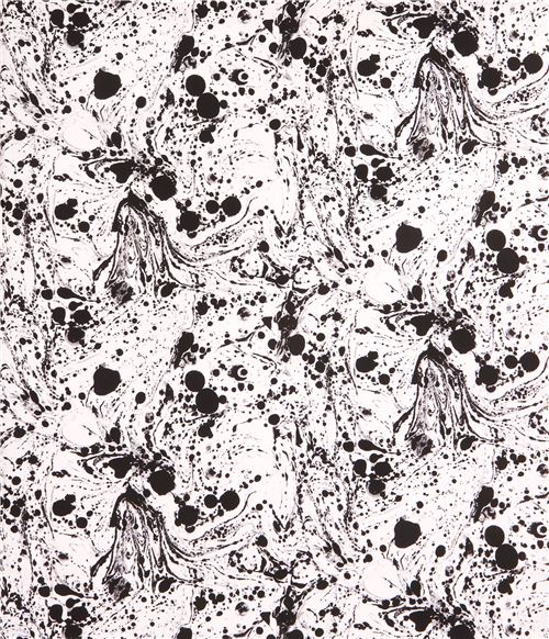 White Fabric With Black Grey Paint Splatter Dot Andover