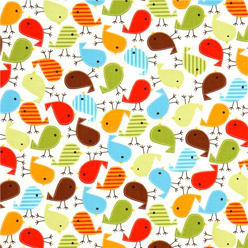 Tela kawaii blanca de robert kaufman p jaros de colores - Telas con dibujos infantiles ...