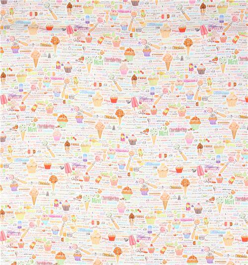 Sweet Tooth boules tissu par Robert Kaufman 1//2 Mètre Crème Glacée