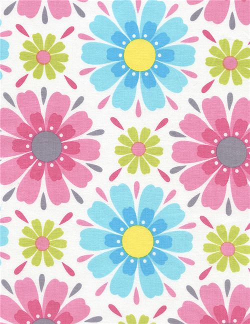 white fabric with pink blue green flower by Timeless Treasures ...
