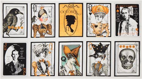 Weißer Halloween-Stoff mit Spielkarten von Quilting Treasures ...