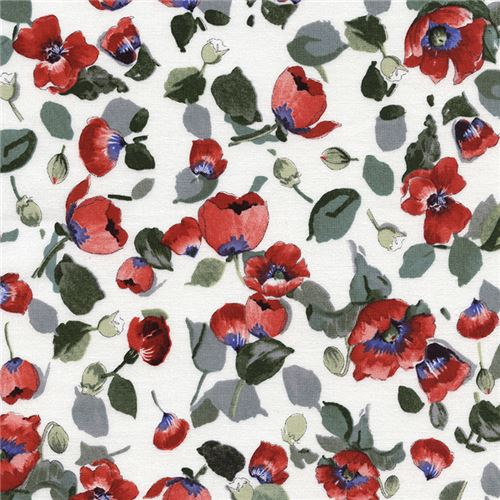 White fabric with red poppy flower green leaf by timeless treasures white fabric with red poppy flower green leaf by timeless treasures mightylinksfo