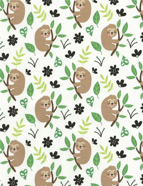 white fabrics with brown sloth green leaf by Timeless Treasures ...