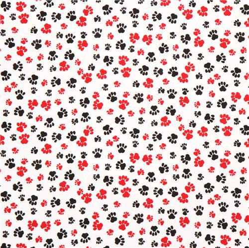 White flannel fabric with red black cat paw prints 2