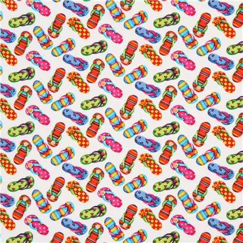 a268565168ec38 white flip-flop fabric by Timeless Treasures USA - Kawaii Fabric Shop
