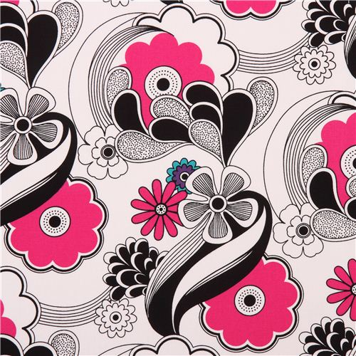 White flower wave canvas fabric robert kaufman black pink usa white flower wave canvas fabric robert kaufman black pink usa 1 mightylinksfo