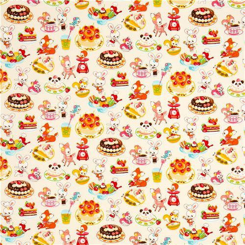 white kawaii fabric desserts animals by cosmo from japan animal fabric fabric kawaii shop. Black Bedroom Furniture Sets. Home Design Ideas