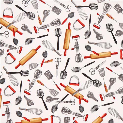 Tela Blanca Accesorios Cocina Robert Kaufman Rodillo Tela Con - Telas-de-cocina
