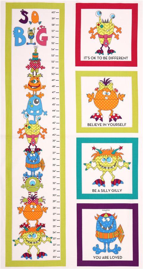 Tela blanca monstruos regla metro medida infantil - Telas con dibujos infantiles ...