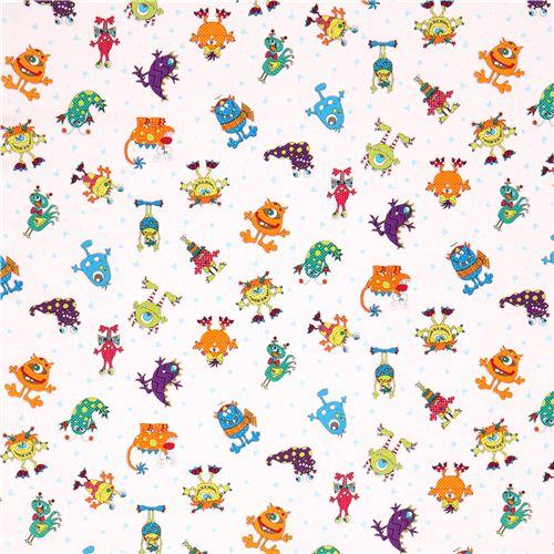 Tela blanca infantil monstruos y estrellas telas infantiles telas tienda kawaii modess4u - Telas para colchas infantiles ...