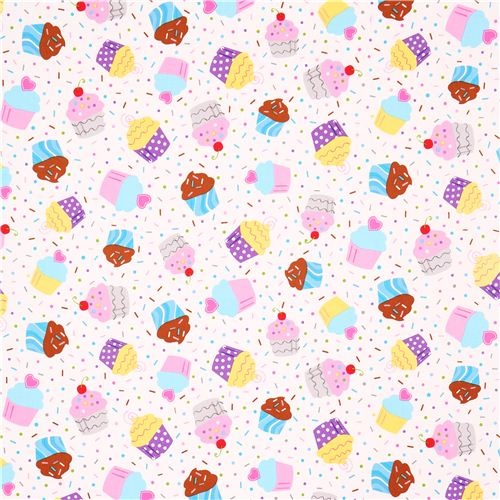White Muffin Cupcake Fabric Robert Kaufman Baked With Love