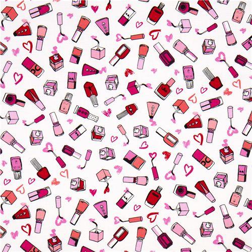 White Nail Polish Designer Fabric With Hearts From The USA - Retro Fabric - Fabric - Kawaii Shop ...