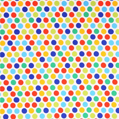 White Polka Dot Fabric Green Blue Red By Michael Miller