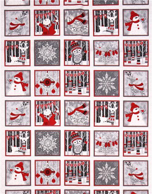 White Reindeer Snowflake Fir Tree Winter Sweater Panel