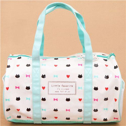 wei t rkise mini katzen plastik glitzer tasche sporttasche aus japan handtaschen taschen. Black Bedroom Furniture Sets. Home Design Ideas