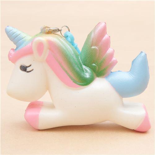Squishy Unicorn Head : white unicorn with rainbow mane squishy - Animal Squishy - Squishies - Kawaii Shop modeS4u