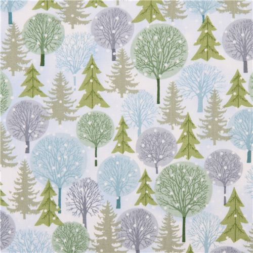 White Winter Forest Tree Flower Fabric Holiday Cheer