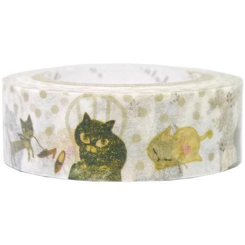 Nastro adesivo bianco pois gatti decorazioni dorate shinzi - Nastri decorativi natalizi ...
