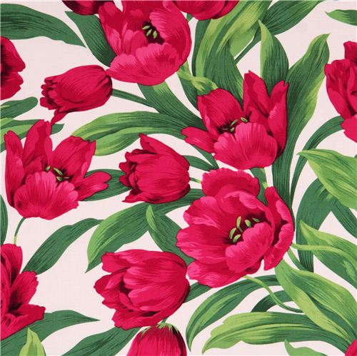 White tulip flower fabric ruby tulips by michael miller flower whitetulip flower fabric ruby tulips by michael miller 2 mightylinksfo