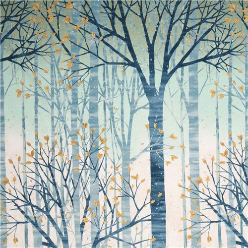 Winter Forest Mist Gold Fabric Sound Of The Woods By