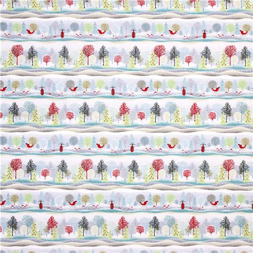 Winter Forest Tree Stripe Fabric Holiday Cheer Christmas
