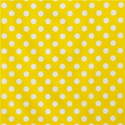 yellow Riley Blake polka dot laminate fabric white dots - Dots ...