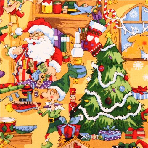 Tessuto Natalizio Giallo Babbo Natale Elfo Santa 39 S
