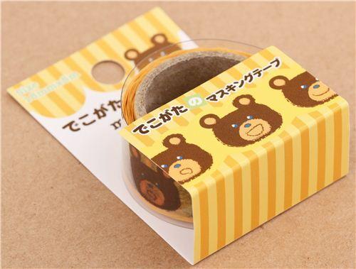 Nastro coprente sagomato giallo orso marrone animali decorativo giappone washi tape nastri - Nastri decorativi natalizi ...