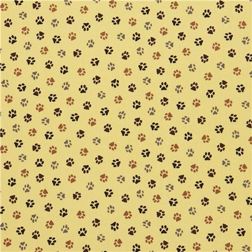 Yellow Dog Paw Animal Fabric By Robert Kaufman Animal