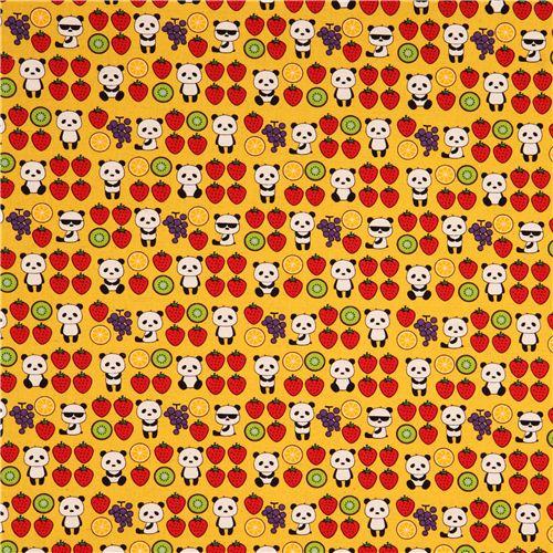 gelber obst panda frucht essen canvas stoff aus japan kawaii fabric shop. Black Bedroom Furniture Sets. Home Design Ideas