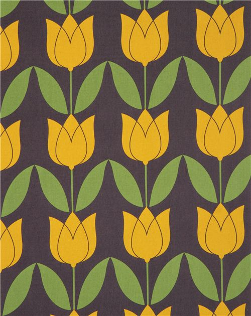 yellow-grey Tulip flower fabric by Michael Miller - Flower Fabric ...