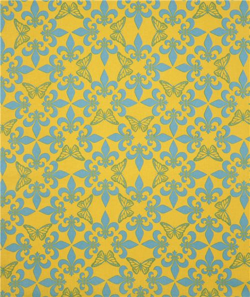 yellow light blue ornament butterfly fabric by Kokka - Animal Fabric ...