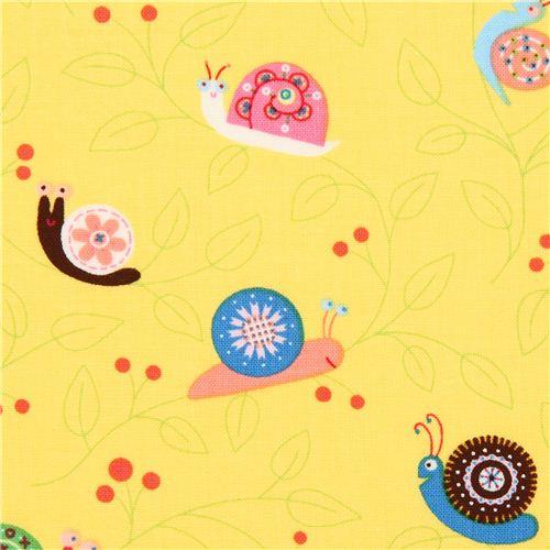 gelber schnecken tier stoff von timeless treasures usa tierstoffe stoffe kawaii shop modes4u. Black Bedroom Furniture Sets. Home Design Ideas
