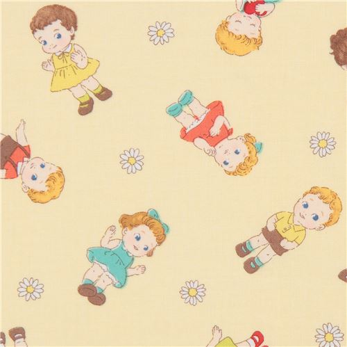 Yellow with cute children fabric from japan children for Cute childrens fabric