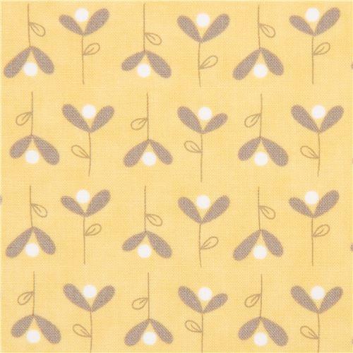 gelber stoff mit kleinen blumen von moda fabrics blumenstoffe stoffe kawaii shop modes4u. Black Bedroom Furniture Sets. Home Design Ideas