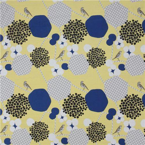 Yellow With Grey Hexagon Bird Animal Jacquard Echino Fabric 2