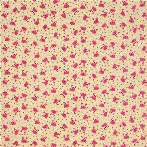 gelber stoff mit rosa krebsen und kleinen herzen von timeless treasures tierstoffe stoffe. Black Bedroom Furniture Sets. Home Design Ideas